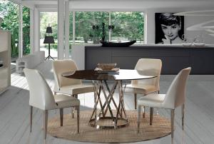 Quality Stainless Steel Marble Dining Tables Large Round For Dining Room , Luxury round for sale