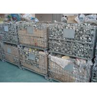 China Galvanized Wire Mesh Pallet Cage , Stackable Collapsible Pallet Cages Foldable on sale