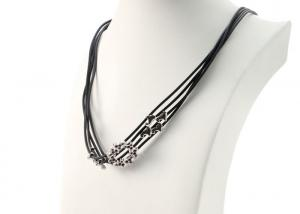 China Multi Strand Mens Costume Jewelry Necklaces Adjustable Black Leather Cord on sale