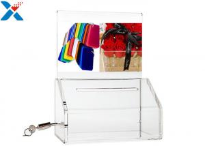 China Custom Clear Acrylic Sign Holders Transparent Election Ballot Box With Lock on sale
