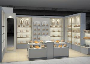 Quality Shopping Mall Retail Shoe Store Fixtures With Tall Cabinet And Tables Modern for sale