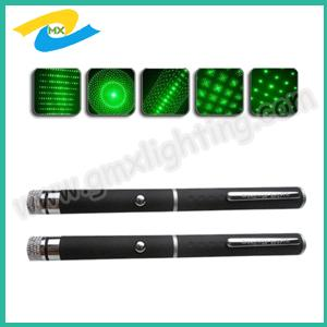 China 5 mw -200 mw  green laser pointer pen with 5 changeable heads on sale