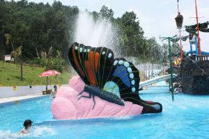 China Indoor Water Playground Equipment Kids Water Pool Slides Butterfly Fiberglass on sale
