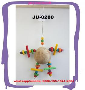 China Toys Stimulation Activity Cage Accessories Coconut Shell Doll Bird Playing Tools JU-0200 on sale
