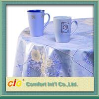 Flower Design Printing PVC Transparent Film Dining Table Cloth For Household Blue