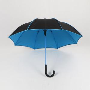 China Blue And Black Walking Stick Umbrella , Portable Double Layer Golf Umbrella on sale