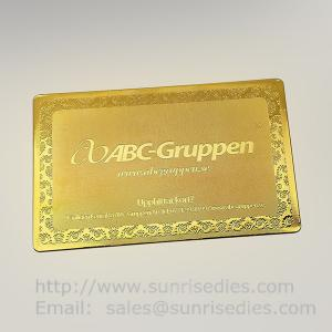 China Gold Tone Etching Brass Business cards, China etched metal cards factory on sale