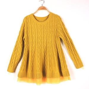 China Long Sleeve Girl's Jacquard Sweaters Pullover Round Neck Cable Knits on sale