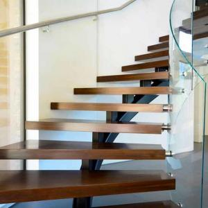 China Villa house Stainless steel staircase Stainless steel curved stair steel-wood stairs on sale