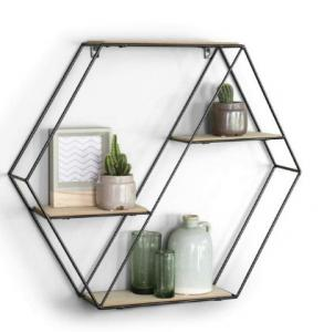 China Hexagon wall shelf wood metal Hanging Shelves floating Wood Shelf geometric shelf on sale