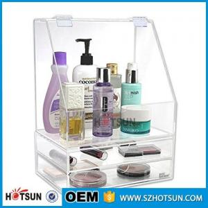 China Diamond Handle Clear Acrylic Makeup Organizer, Acrylic Makeup Drawer Box, Flip Cover Acrylic Cosmetic Storage Boxes on sale