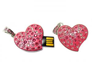 China Pink Heart Shaped Crystal USB Flash Drive Memory Stick Waterproof Push and Pull Gift U Disk on sale