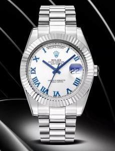China Rolex DayDate 40mm 3255 Movement White Dial Blue Roman Markers Fluted Bezel Watches on sale