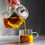 2018 new design square shape pyrex glass teapot with infuser