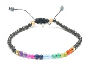 China Wholesale Colorful Lucky Stone 3MM Seven Chakra Bracelet Beaded Mens Unisex Bohemian Style on sale