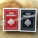 Gold Dragonfly Plastic Coated Playing Cards With 2 Regular Index