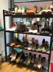 Black Modular Shoe Store Display Shelves Stable Structure For Shoe Specialty Stores