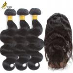 Pre - Colored Brazilian Hair Body Wave 3 Bundles With 360 Lace Frontal Closure