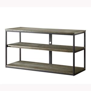 China Metal Legs Solid Wood Coffee Table , Solid Wood Side Table With Aged Iron Finish on sale