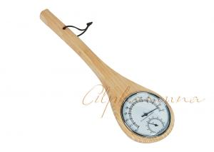 China Pine Wooden Ladles Sauna Thermometer Hygrometer For barrel sauna , sauna equipment on sale