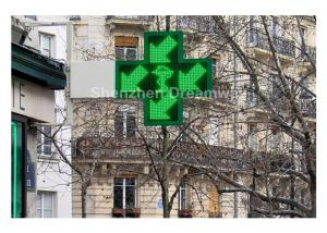 China Asynchronous Double Sides P20 LED Pharmacy Cross Signs DIP 546 with 960 × 960 mm Screen on sale