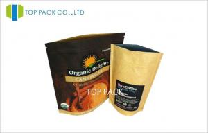 China 250g Coffee Bean Kraft Paper Stand Up Ziplock Bags With One Way Valve on sale