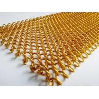 China Hotel Decoration Drapery Aluminum Coil Mesh Curtain Space Divider Woven Wire Chain Mesh Curtain / Coil Drapery In Brass on sale