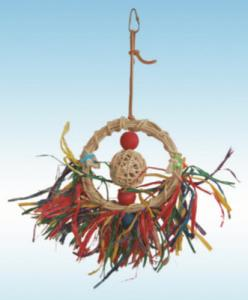 China natural vine parrot toys 10 inches raffia grass circle for cockatiel conure on sale