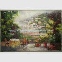 Handmade Mediterranean Canvas Painting European Garden Scenery Oil Painting on Linen
