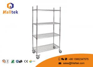 China Optional Layer Height Wire Mesh Shelving Commercial Wire Shelving With 4 Wheels on sale