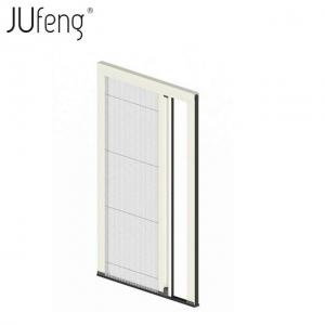 China Polyester pleated mesh trackless retractable fly screen door on sale
