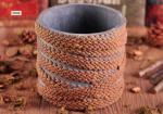 Deco Weave Twine Cylinder Concrete Candle Holders 12cm Bottom dia