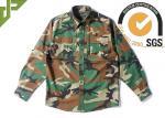 Woodland Camo Tactical Combat Shirt With Hidden Pencil Pockets Long Sleeve