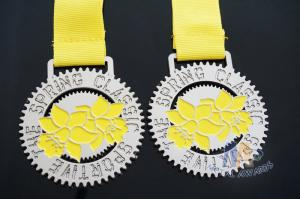 Quality Cut Out Design And Glitter Color Metal Award Medals with Printing Ribbon Gold Plating for sale