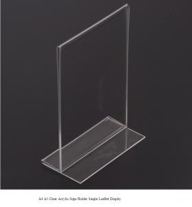 China Clear Acrylic Sign Holder Single Leaflet Display / A4 A5 Acrylic Counter/ Table top on sale