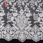 131CM White Embroidered Bridal Lace Fabric For Attire Azo Free High Color Fastness