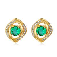 Genuine Emerald Stud Earrings , Emerald Green Diamond Gemstone Earrings