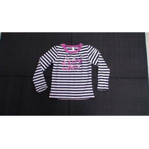 China L'habillement de rayure de filles de chemise de boutique des enfants arrières et blancs de longue douille on sale