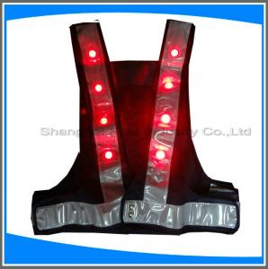 China LED traffic safety vest,100% ployester,factory supplier high visibility safety vest with led light led reflective safety on sale