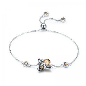 China Queen Bee 100% 925 Sterling Silver Bracelets , Womens Silver Link Bracelet Adjustable on sale