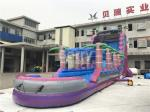 customized commerical purple giant adult kids inflatable water slide with pool ,slip n slide