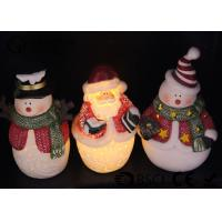 China Ceramic Material Christmas Led Candles Snowman / Santa Claus Shape on sale