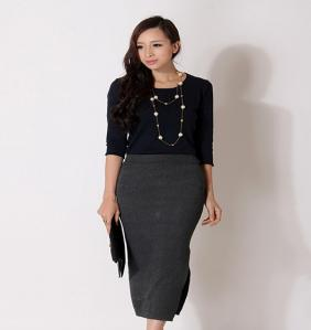 China Casual Womens Sweaters Dress Knitwear Blue Shawl Collar Fine Knit Dress on sale
