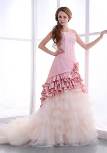 China 2014 New Style Pink Taffeta Tulle Strapless A Line Wedding Dress with Flower Design on sale