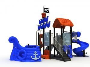 China Pirate Ship Themed Daycare Outdoor Playground Equipment Sea Sailing Type With Spiral Slide on sale
