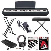 Yamaha P-125B 88-Key Weighted Action (GHS) Digital Piano (Black) Bundle with Knox Double X Stand Knox Wide Bench Sustain