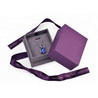 Purple Velvet Cardboard Jewelry Box With Necklace Hanger Window Paper Lid Luxury