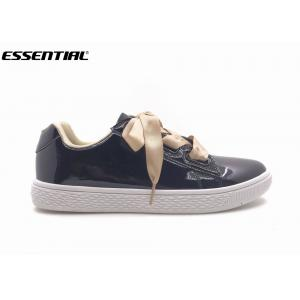 mirror TPU women casual sneaker satin lace up black color TPR outsole