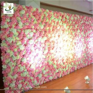 China UVG White flower wall backdrop with silk rose and hydrangea for wedding stage decoration on sale
