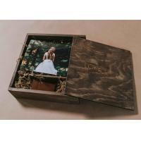 China 4 X 6 Wooden Photo Album Box , Custom Wooden Wedding Photo Box With Dividers on sale